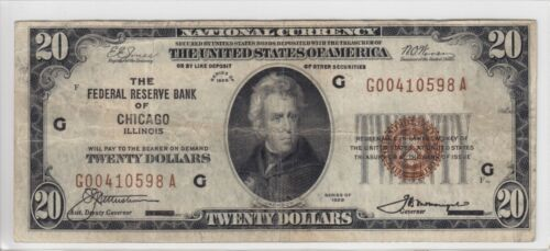 1929 Federal Reserve Bank of Chicago, IL $20 Note FR#1870-G G00410598A