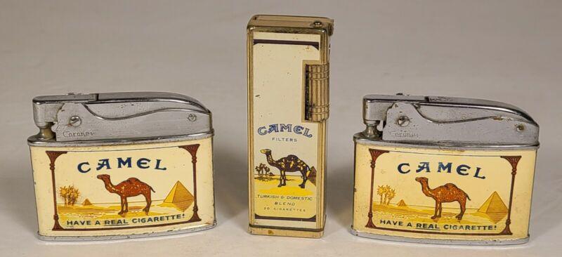 Lot Of 3 Vintage Camel Cigarette Lighters