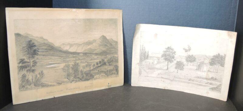 2 1850s Pencil Drawings - Grasmere Lake England & Cumberland Aurora Greely Morse