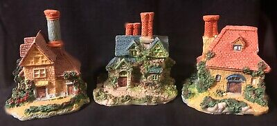 Vintage Set Of 3 Miniature English Cottages - Christmas Village