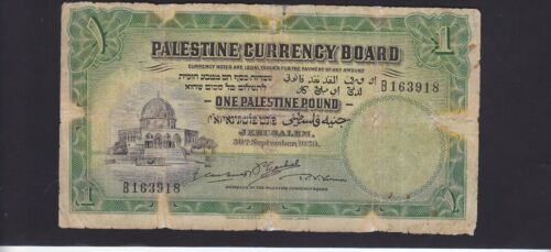 PALESTINE 1 POUND DATED 1929 P.7b IN VG COND. NOTE WITH SOME REPAIRS