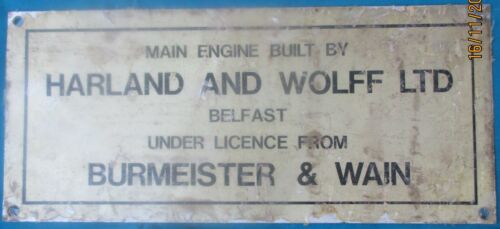 Vintage Ship/Engine Builder Brass ORIGINAL Plaque/Plate ME HARLAND B&W