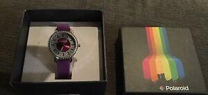 NWT-Polaroid-Watch-SWN-1507-Purple-Band