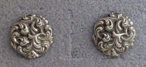 Antique Vintage Sterling Silver Art Nouveau Repousse Button Screw Back Earrings
