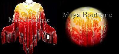 Blood Moon Colors Poncho Shawl Top Hand Dye Silk Burnout Velvet By Maya Matazaro