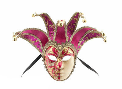 Mask from Venice Volto Jolly Pink Fushia Golden 7 Spikes for Masquerade Ball 914