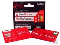 Virgin prepay pay as you go SIM Card trio sim size - (buy 1 get 1 free)