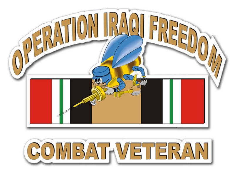 "Seabee Operation Iraqi Freedom 5.5"" Car Window Sticker"