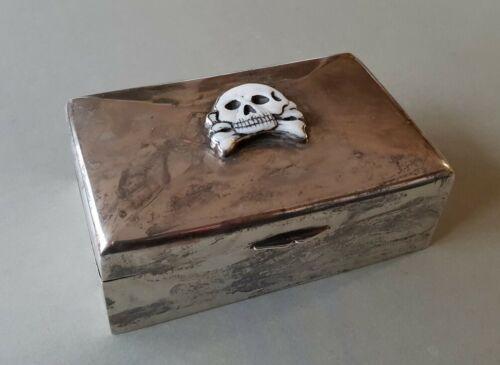 RARE ANTIQUE German WWI MEMENTO MORI skull Cigar box or jewelry SILVER box
