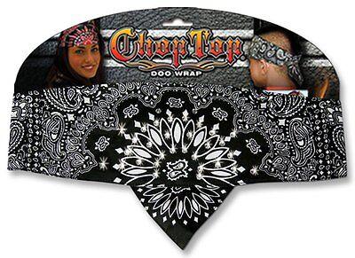 Black White Rhinestones Paisley Chop Top Bandanna Head Wrap Sweatband - Black And White Bandana