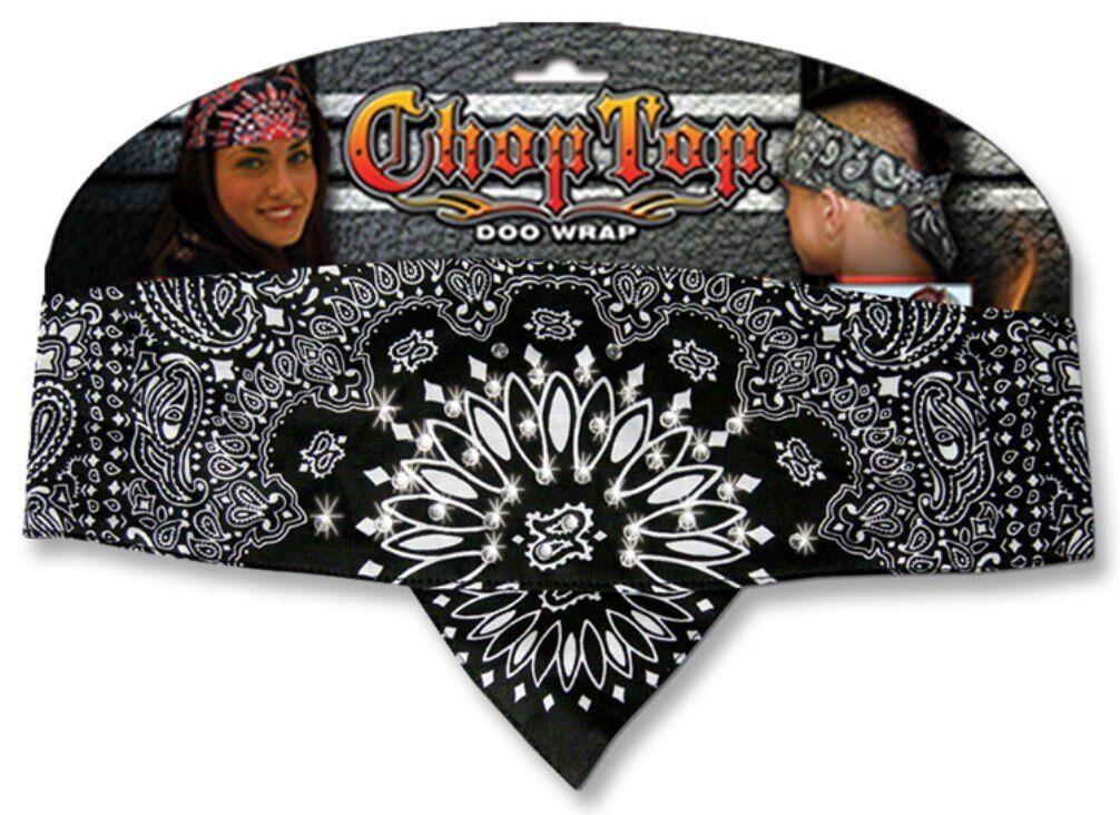 Black White Rhinestones Paisley Chop Top Bandanna Head Wrap