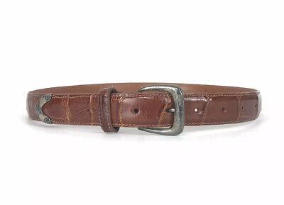 VINTAGE Polo Ralph Lauren Genuine Alligator Sz 30 Burnished Tan Belt Mens Exotic