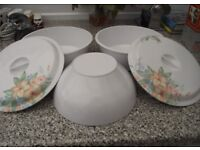 2 Melamine Dishes with Lids and 1 Salad Bowl