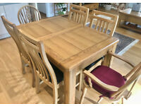 Rectangular Solid Oak Extending Dining Table with 4 Chairs- Excellent Condition