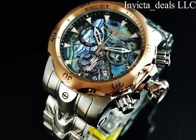 Invicta Men's 52mm VENOM Swiss Z60 Chronograph ABALONE DIAL Silver Tone SS Watch