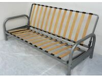 NEW, BOXED 3 seater Futon sofabed silver metal action frame. Click clack folding guest bed sofa