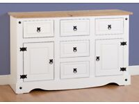 Corona 2 Door 5 Drawer Sideboard in White/Distressed Waxed Pine Fully Assembled Brand New