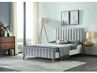 🔵💖🔴10% SALE PRICE🔵💖🔴PLUSH VELVET FABRIC LUCY DOUBLE BED FRAME WITH MATTRESS OPTION