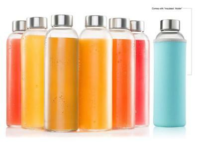 Glass Water Bottle 6 Pack 18oz Bottles With 6 Sleeves And Stainless Steel - Packed Bottle