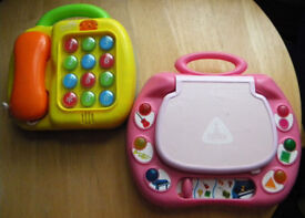 Mothercare Learning Laptop - Pink & Grow & Play 2 In 1 Telephone & Piano - used