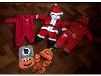 Halloween and Christmas outfits 3-6 months