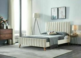 🌊 Furniture On Sale🌊(4ft 6inch) Double Size Fully Plush Velvet lucy Beds Frame W Optional Mattress