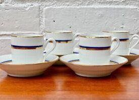 4 Richard Ginori Espresso Cups and Saucers Blue Gold