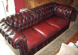 Ox Blood Chesterfield Leather sofa and chairs