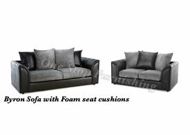 *** 1 YEAR WARRANTY *** BRAND NEW BYRON (3+2) SOFA SET OR CORNER ON SPECIAL OFFER, EXPRESS DELIVERY