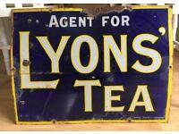 Agent for Lyons Tea Enamel Advertising Sign