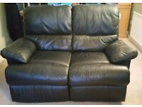 Black leather reclining three piece suite