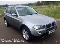 2008 58 BMW X3 2.0d SE 4x4 metallic Grey with charcoal half leather sport int FSH 12 mths mot 2 keys