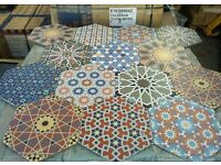 A RIOT OF COLOUR & BEAUTY ANDALUSI VINTAGE HEXAGON PORCELAIN WALL & FLOOR TILES