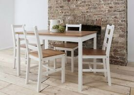 White&pine table with 4 chairs