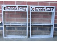 Garden metal mesh wall cabinet, stand, pot decoration, spring herbs display, wooden frame decor