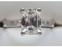 Diamond Solitaire 1.71 ct H/I, VS/S1 - size I/J - Platinum ring (valued upwards of £13,500)