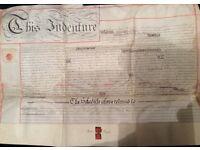 1888 Antique Vellum Indenture - Back Street - Newdegate Street, Nuneaton - RARE.