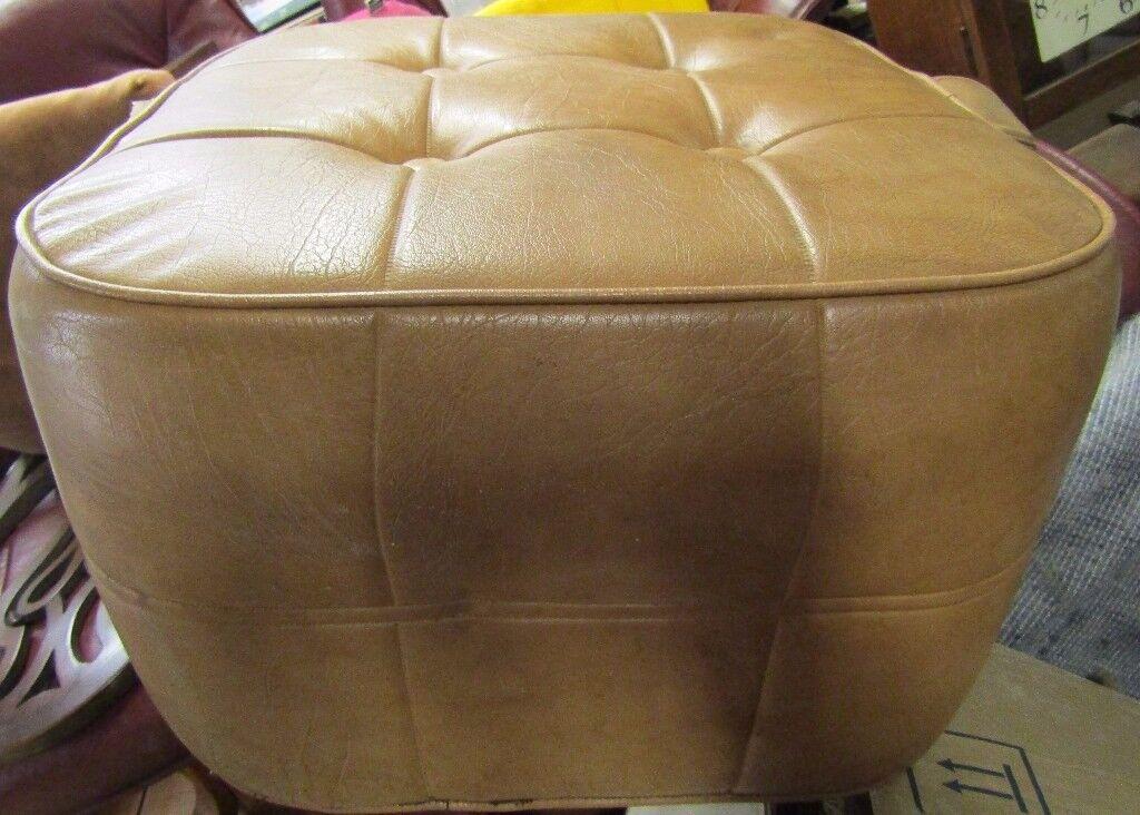 Retro leather look pouffe footstool