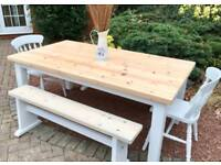 Farmhouse Pine Table, Chairs & 2 Benches