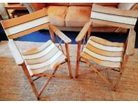 CAN DELIVER Pair of vintage folding garden / directors chairs