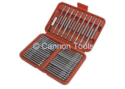 50pc extra long reach screw driver security bits + case torn hex spline flat set
