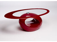 Red Oval Glass Coffee Table