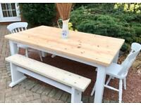 Farmhouse Pine Table, 2 Chairs & 2 Benches