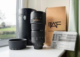 Nikon Nikkor Zoom AF 80-200mm f/2.8 D ED Lens Boxed Complete With Hood HB 7 Hood Excellent Condition