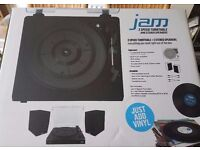 Fully Boxed Retro Jam Turntable and Speakers