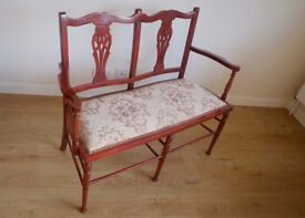 EDWARDIAN VINTAGE / ANTIQUE 2 SEATER CHAIR DELICATE DESIGN YET STURDY IN VERY GOOD CONDITION