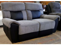 Brand New Henry 2 Seater Fabric Recliner Sofa - Charcoal