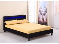 BLACK VELVET LED COLOUR CHANGING BED - Double - optional memory foam mattress
