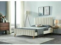 🔴BRAND NEW🔵(4ft 6inch) Double Size Fully Plush Velvet lucy Beds Frame W Opt Mattress🔴