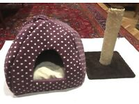 Cat Bed with Internal Cushion and Scratching Post